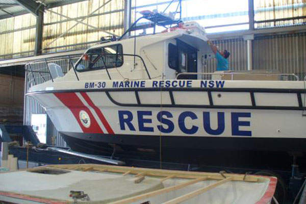 The first Steber 38 marine rescue vessel, BM 30 was launched in February 2011. Image courtesy of 2014 Marine Rescue NSW.
