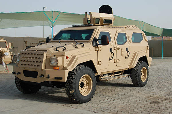Gurkha is a light armoured vehicle, based on the heavy duty commercial FORD F550 truck chassis. Image courtesy  of Terradyne Armored Vehicles Inc.
