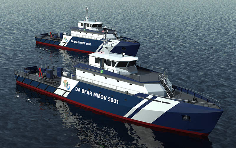 The 50m multi-mission offshore vessels are powered by two Mitsubishi S16R2-T2MPTK engines. Image courtesy of Incat Crowther Pty Ltd.