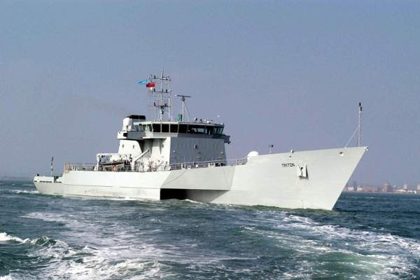 The ACV Triton is a large armed patrol and response vessel in service with the Australian Customs and Border Protection Service (ACBPS). Image courtesy of Australian Customs and Border Protection Service, copyright - Qinetiq (UK).