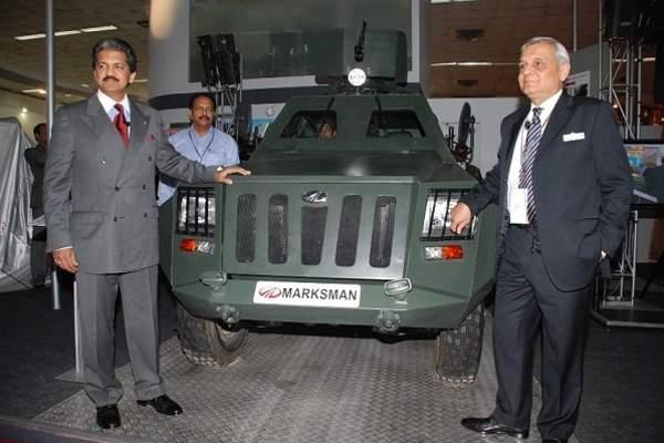 Mahindra Defence Systems of Mahindra Group launches the new Mahindra Marksman at the Defence Expo in New Delhi.