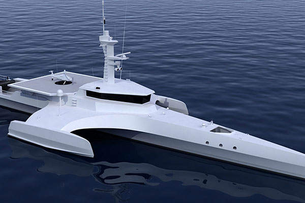 The Ocean Eagle 43 trimaran ocean patrol vessel is designed by Nigel Irens Design. Image: courtesy of Nigel Irens Design.