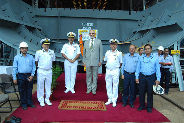 The keel for the first offshore patrol vessel in the 105m-class was laid in September 2012. Image courtesy of Goa Shipyard Ltd.