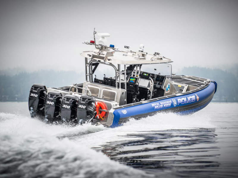 The SAFE 41ft Center Console-Offshore interceptor is powered by four 300hp Mercury Verado engines. Image courtesy of SAFE Boats International, LLC.