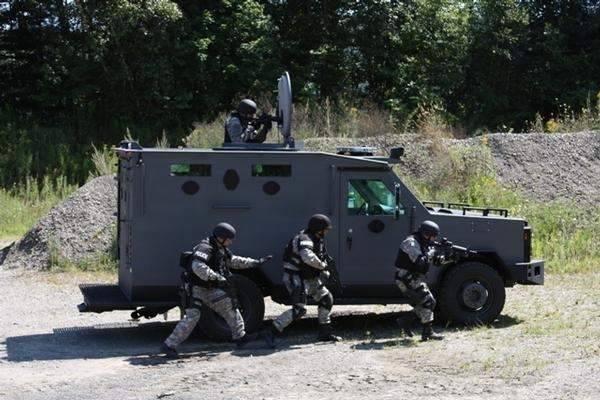 The TK-4 armoured SWAT vehicles offer armour piercing protection.
