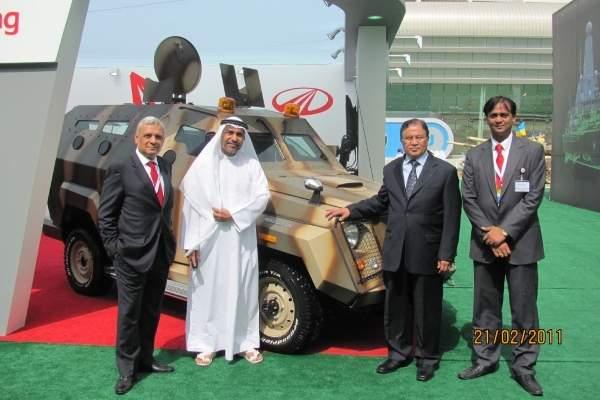 The top level management of Mahindra Emirates Vehicle Armouring (MEVA) pose with the Mahindra Marksman built at the facility in Ras Al Khaimah.
