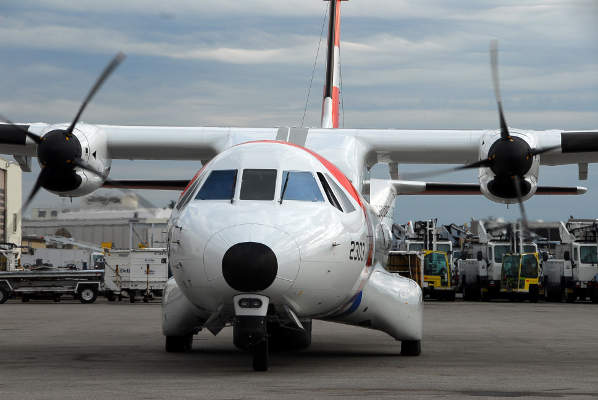 A close front view of the HC-144A Ocean Sentry medium-range surveillance aircraft. Image courtesy of USCG, photo by PAC Sarah B. Foster.
