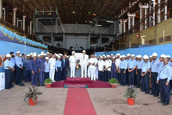 The keel laying ceremony of the fourth OPV was held in January 2014. Image courtesy of Goa Shipyard Ltd.