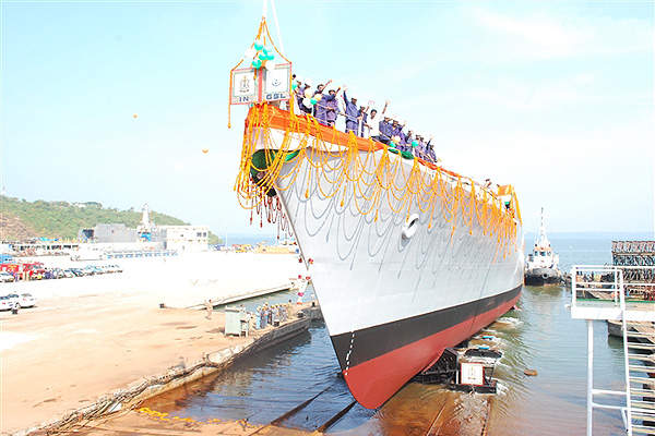 The fourth vessel in the series, INS Sumitra, was launched at the Goa Shipyard in December 2010. Image courtesy of Goa Shipyard Ltd.