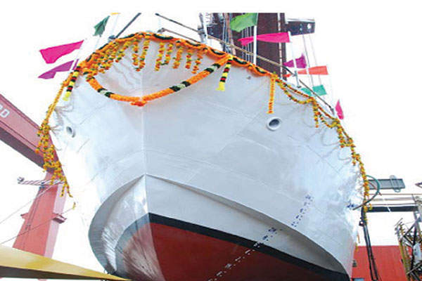The launch of Indian Coast Guard's fast patrol vessel ICGS Abhinav (238) at Cochin Shipyard. Image courtesy of Press Information Bureau, Government of India.