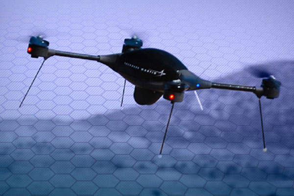 The Indago quad rotor VTOL system can endure airborne for more than 45 minutes. Image courtesy of Lockheed Martin Corporation.