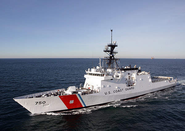 The port side view of the National Security Cutter USCGC Bertholf (WMSL-750), Image courtesy of Tognum AG.