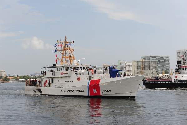 The second USCG Sentinel Class Fast Response Cutter, Richard Etheridge, arrives at Port Everglades. Image courtesy of US Coast Guard, photo by Bianca Caro.