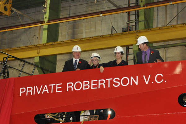 The CCGS Private Robertson V.C. was unveiled in November 2011.