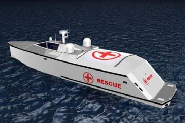 The Search and Rescue (SAR) version of the Vigilant Class Independent Unmanned Surface Vessel (IUSV).