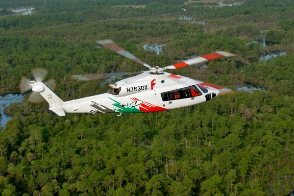 The S-76D SAR helicopter has a maximum speed of 287km/h.