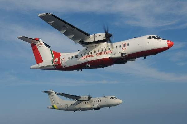 Two ATR 42 MP aircraft, one from the Italian Coast Guard and another from the Italian Customs Police, fly on a mission.