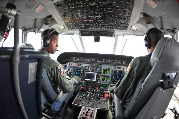 Internal cockpit view of a US Coast Guard HC-144A Ocean Sentry maritime patrol aircraft. Image courtesy of US Coast Guard, photo by Seaman Grace Baldwin.
