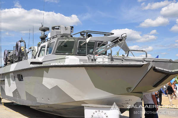 The ZALA 421-16EM UAV's launch capability from a BK-16 high-speed landing craft was demonstrated during the Army 2015 International Military Technical Forum. Image: courtesy of ZALA AERO GROUP Unmanned Systems.