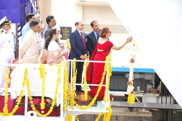 The third offshore patrol vessel was launched in April 2015. Image courtesy of Goa Shipyard Ltd.