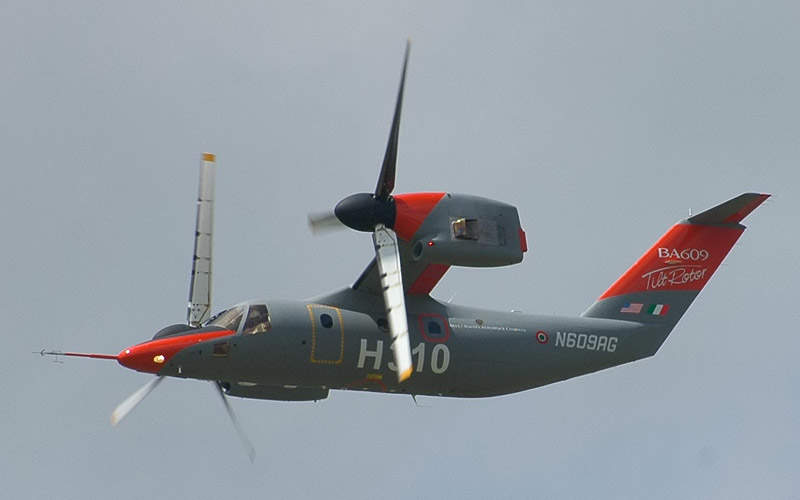 The maximum cruise speed of the AW609 is 510km/h.