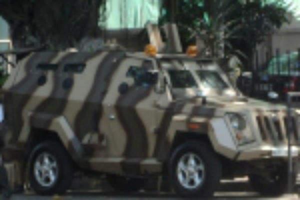 A Mahindra Marksman armoured vehicle of the  Mumbai Police. Image courtesy of LOGANATHAN.R.