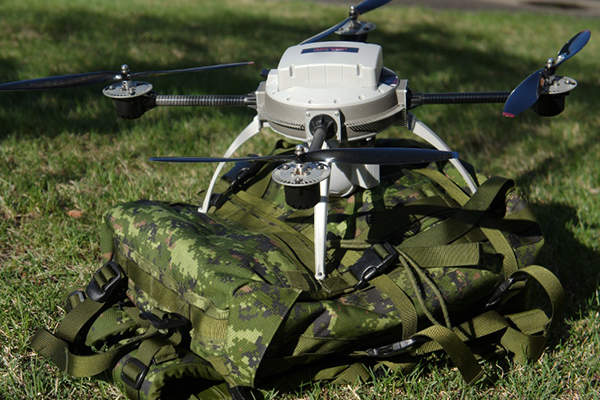 The Aeryon Scout micro-UAV can be carried on a military backpack.