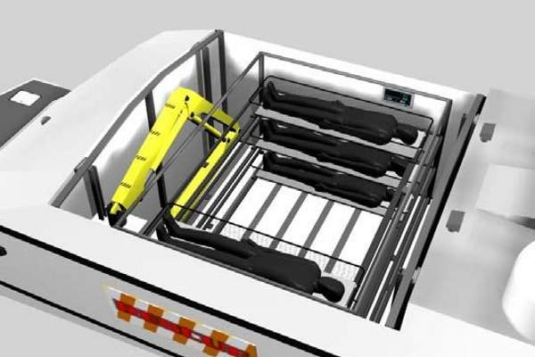 A graphical image of litter rack aboard the Vigilant ISUV SAR version.