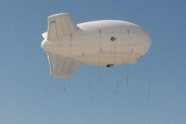 The aerostat can withstand maximum sustained operating winds of up to 40kts. Image courtesy of Aeros.