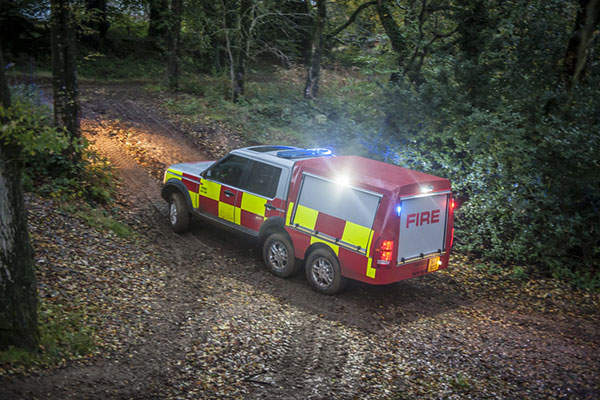 The Fire and Rescue Services version is fitted with a 500l integrated water tank. Image: courtesy of Supacat Limited.