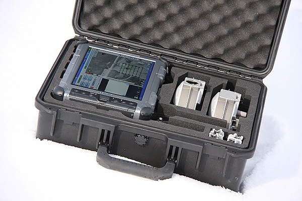 Aeryon Scout Snap-Together Components and Tablet packed in carry case.