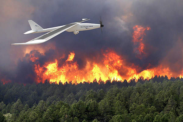 Silent Falcon UAS in wildfire management.