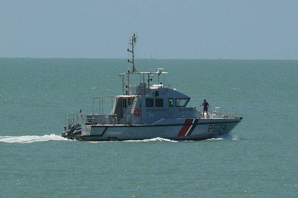 The VCSM Organabo (P624) of the French Coast Guard (Gendarmerie Maritime) cruises near St Joseph's Island in French Guiana. Image courtesy of Arria Belli.